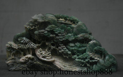 "10"" Chinese Natural Dushan Stone Jade mountain water pine tree 2 Old Man Statue"