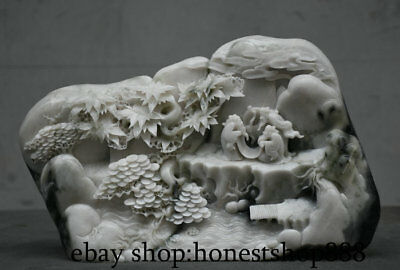 "11"" Chinese Natural Dushan Stone Jade Mountain Water pine tree 3 Old Man Statue"