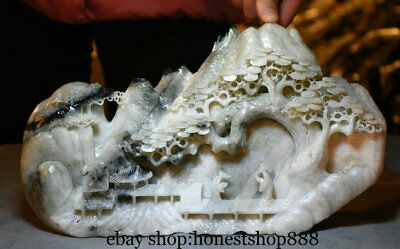 "12"" China Natural White Dushan Jade Carving Old Man Pine Mountain Gazebo Statue"