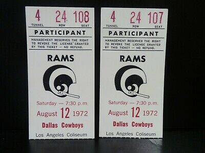 1972 Los Angeles Rams Vs Dallas Cowboys Nfl Game Tickets Original Vintage
