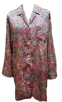 Victorias Secret Medium Paisley Satin Sleep Shirt Button down