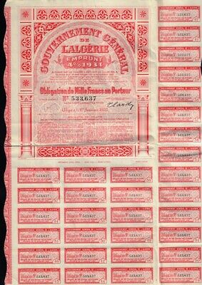AFRICA ALGERIE : Gouvernement General dd 1931 Government Bond w coupons