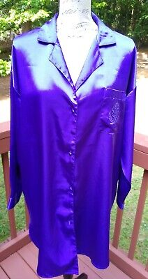 VTG Victoria Secret Large Purple Satin Nightshirt Logo Button Down Gold Label