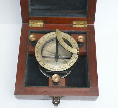 Equinoctial universal compass sundial in case – A.C. Fraser & Son.