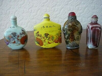 Chinese collection of 4 old snuff bottles