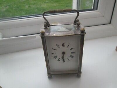 vintage  Carriage Clock MARKED silver plate french