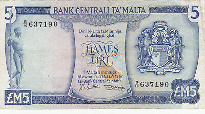 5 LIRI/POUNDS VERY FINE  BANKNOTE FROM MALTA ND(1967)  PICK-32d