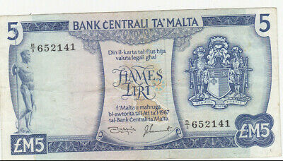 5 LIRI/POUNDS VERY FINE  BANKNOTE FROM MALTA ND(1967)  PICK-32c