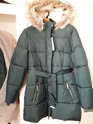 Girls Coat School M&S New Parka 11-12 Years green