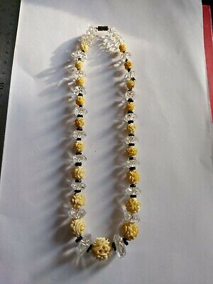 Vintage Art Deco Celluloid Carved Flower And Glass Czech Necklace