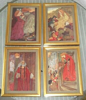 SET of 4 ART NOUVEAU STYLE THEATRICAL FRAMED PRINTS