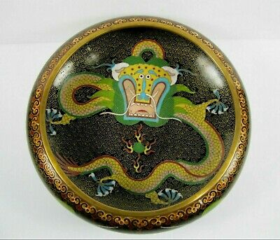 "Chinese Cloisonne Brass Dragon Bowl 8"" Flaming pearl fire Bowl 5 Claw"