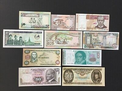 Lot Of 10 World Bank Notes.