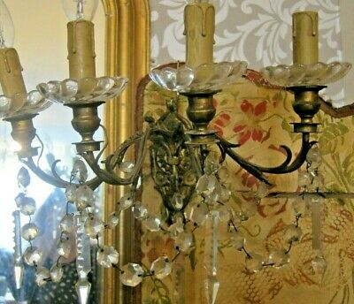 Antique French Gilt Brass/ Glass Crystal Wall Scones/Pair
