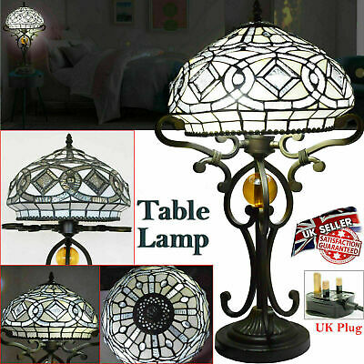 "Beautiful Tiffany Multicolor Flower Stained Glass Shade ""10"" Table/Bedside Lamp"