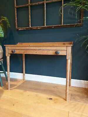 19th Century old pine faux bamboo writing table desk