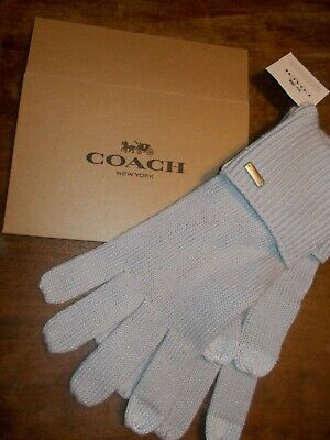 "Coach very Soft Knit Gloves in ""ice"" gray NWT & LOGO GIFT BOX & METAL LOGO TAG"