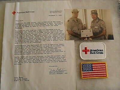Fantastic Red Cross Desert Storm Insignia Lot, Photo & Note From Red Cross