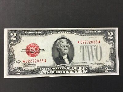 1928D Us $2 Dollars Red Seal Star Note.