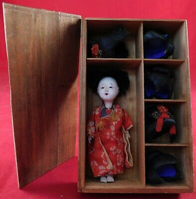 Antique Katsuraningyo Japanese Geisha Silk Kimono Five Hair Wigs Bisque Doll Box