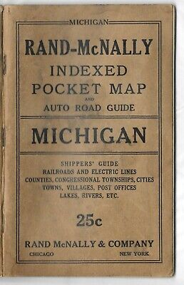 1919 Rand McNally Michigan Indexed Pocket Map and Auto Road Guide Booklet