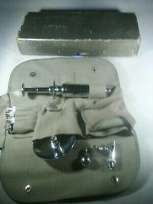 Vintage Metal Syringe In Box with attachments