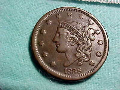 1838 Coronet Head Large Cent with full date & Liberty VF-XF