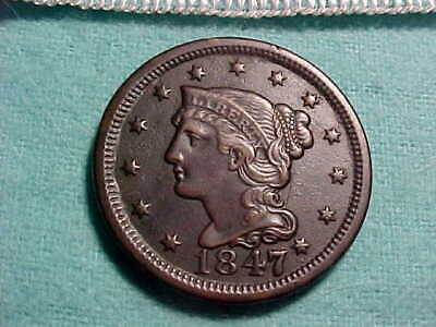 1847 Braided Hair Large Cent  with Strong Date and Full Liberty VF-XF