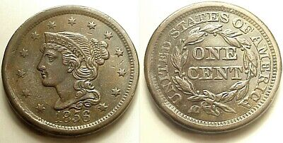 "Crisp A/U 1856 Braided Hair Large Cent-Slanted ""5"" Free Shipping!"
