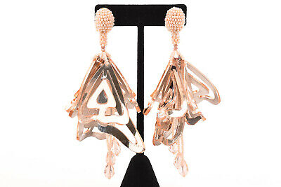 Oscar de la Renta Impatiens pink cutout hand beaded petal drop earrings NEW $490