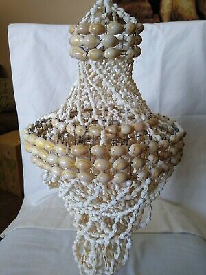 "Vintage Shell Hanging Chandelier 17"" Mid Century Modern Decor"