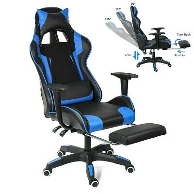 Stylish High Back Racing Gaming Chair Recliner Computer Laptop Desk PU Leather