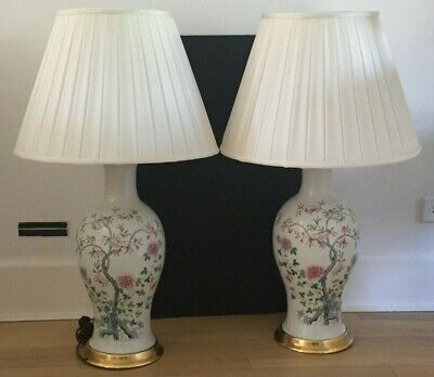 Rare PAIR Famille Rose HONGXIAN NIANZHIN Chinese Porcelain Vases Lamps REPUBLIC