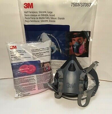 3M 7502 Respirator Medium Size w/ 2 Pieces of 2097 Filters. US Seller