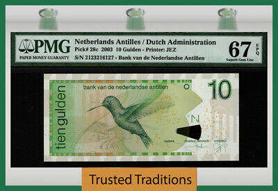 TT PK 28c 2003 NETHERLANDS ANTILLES 10 GULDEN BIRD PMG 67 EPQ SUPERB GEM UNC!