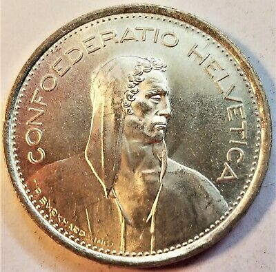 Switzerland 1969-B 5 Francs Uncirculated Collectible Silver (0.8350) World Coin