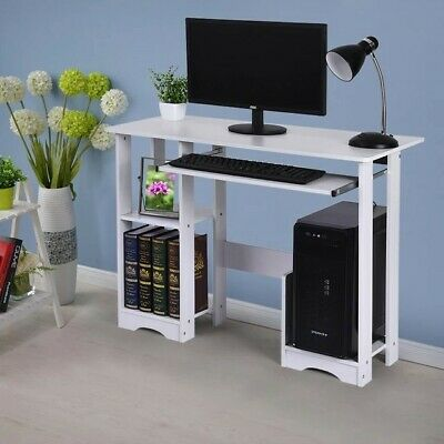 Desktop Home Computer Desk - Small White Computer Desk with Drawers and Printer