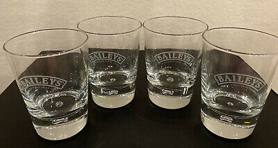 Bailey's Irish Creme: 4 Matching Rock Glasses With Ethed Logo And Bubble Base