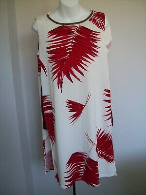 NEXT White Red Floral Print Sleeveless Stretch Long Tunic Top/Dress  Size 10