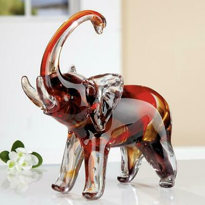 X NICE! Very Large Art Glass Freeform Elephant Sculpture with Tusks & Label