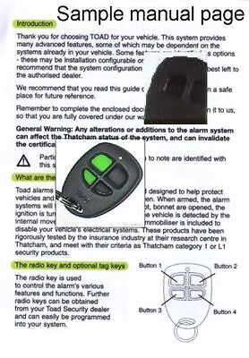 Toad alarm and immobiliser User manuals, ai606 a101cl a201tc and more