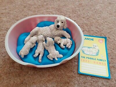 Vintage Puppy In My Pocket Set With Original Card Blanche Poodle Family