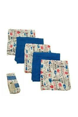Brand New 5 Pack Muslin Squares Nautical Design