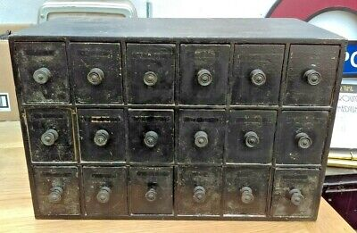 Vintage Small Wooden Cabinet of Engineers Storage Drawers