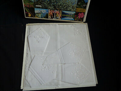 B'ful Vintage Unused Boxed Swiss Embroidery & Lace Delicate White Cotton Hankies