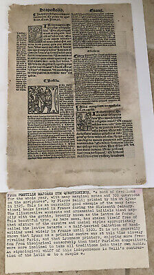 16th CENTURY MANUSCRIPT FROM BOOK OF DEVOTIONS FRANCE BY PIERRE BALLI  WOODCUT