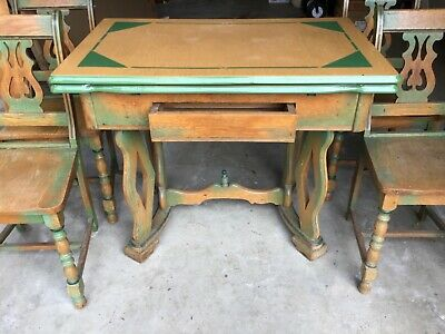 ANTIQUE VINTAGE,1940s OAK w/ENAMEL TOP KITCHEN TABLE WITH 4 MATCHING CHAIRS