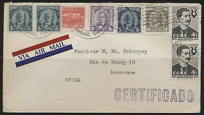 Caribbean Stamps , Attractive Censored Cover Habana To Lausanne Vf/Used.#Υ56