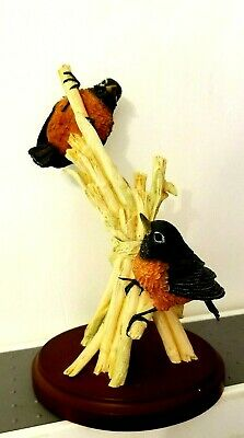TWO ROBIN BIRDS FIGURINE resting on stalks on a wood stand WESTLAND 14508