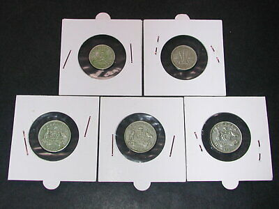Lot Austral./New Zeal. - 5 Silber Münzen - 3 x 6 Pence - 2 x 3 Pence 1937/62